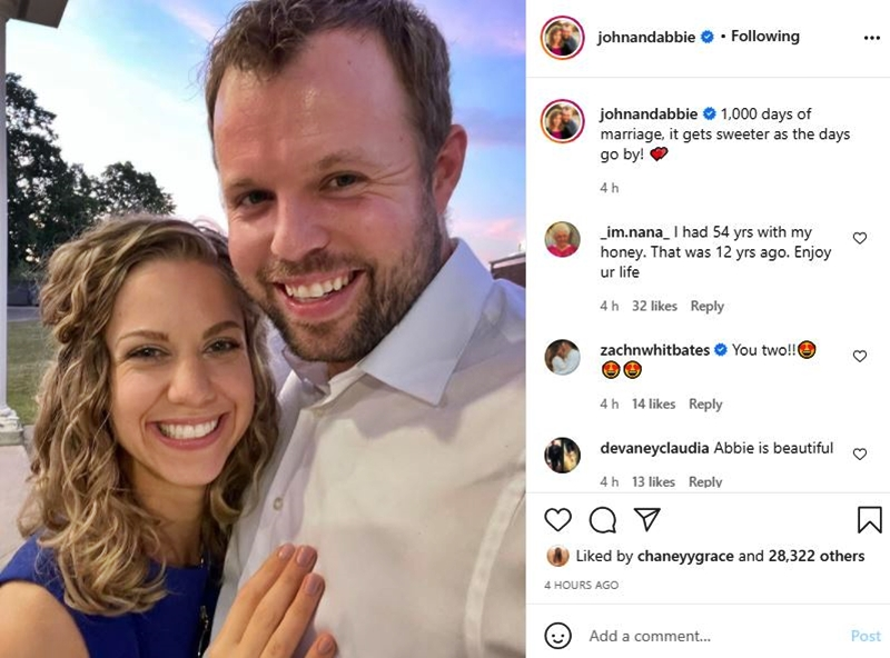 Counting On 1,000 Days Since Abbie Put A Smile On John Duggar's Face